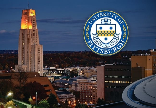 Dental school building and University of Pittsburgh seal